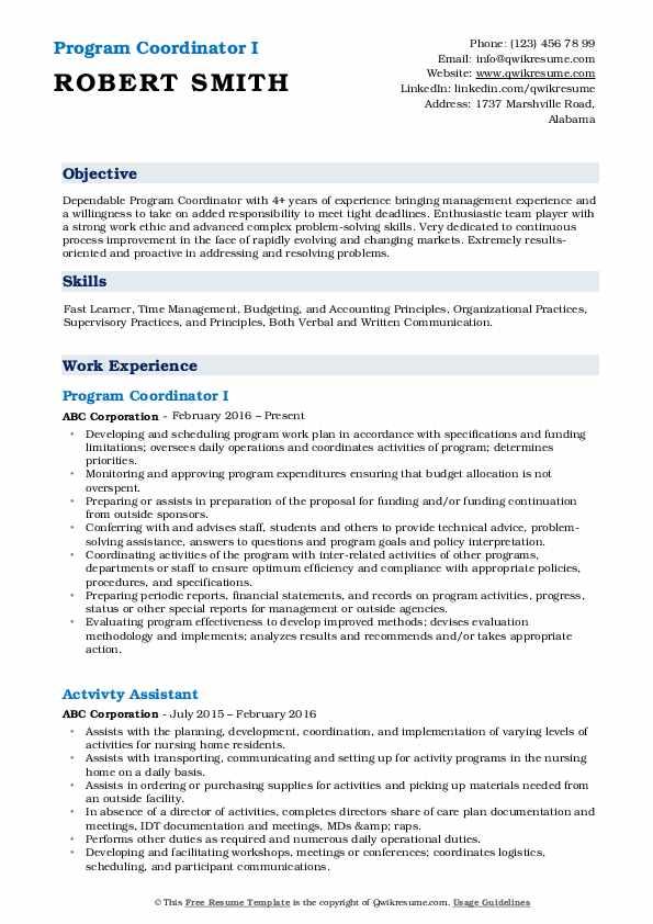 Program Coordinator I Resume Template