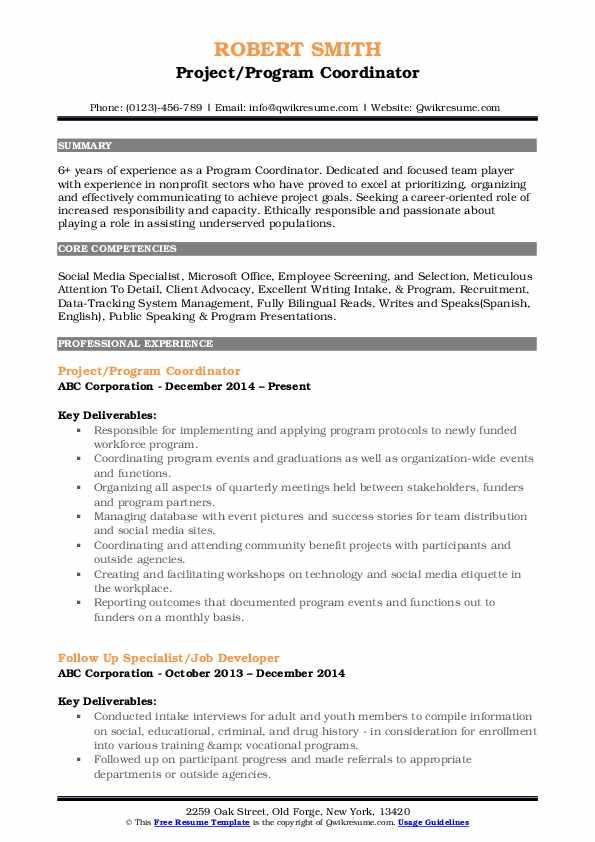 Project/Program Coordinator Resume Format