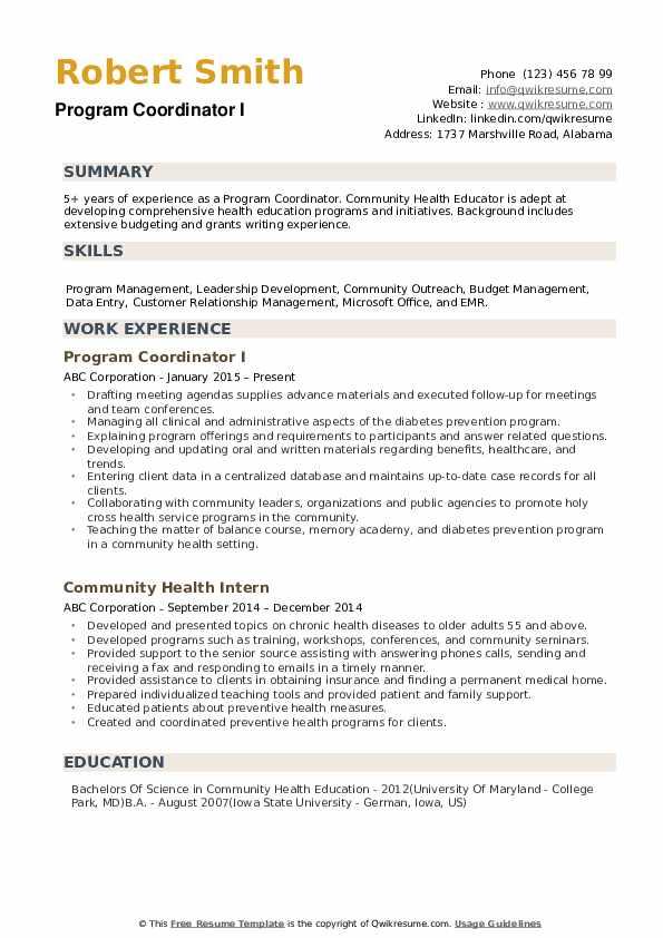 Program Coordinator Resume example