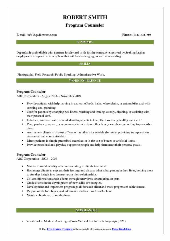 Program Counselor Resume example