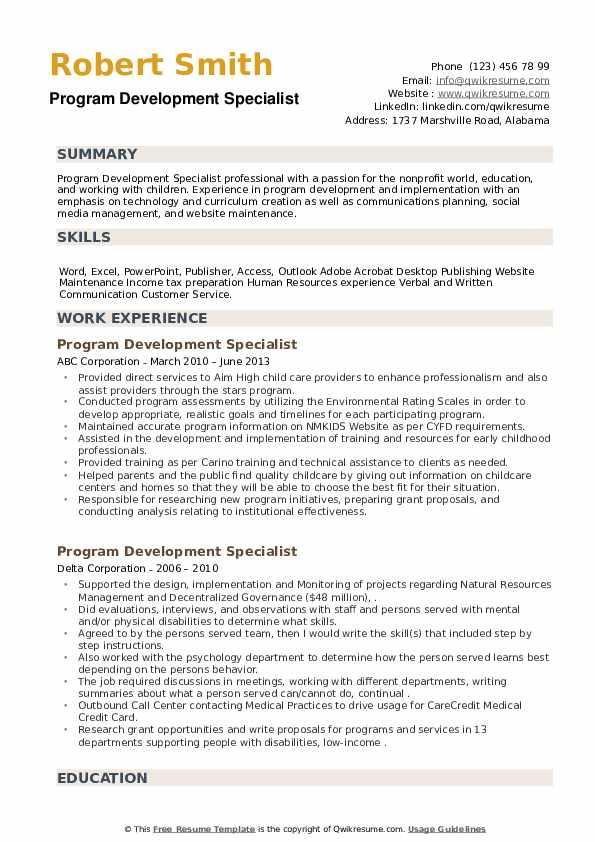 Program Development Specialist Resume example