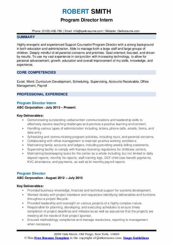 Program Director Intern Resume Example