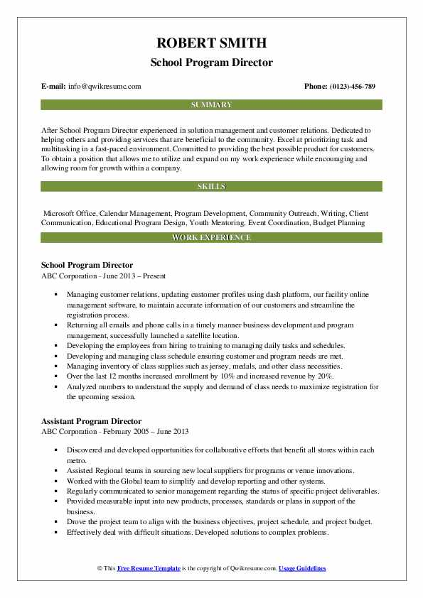 School Program Director Resume Model