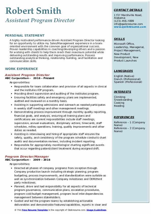 Assistant Program Director Resume Model