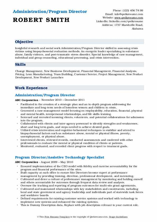 Administration/Program Director Resume Format