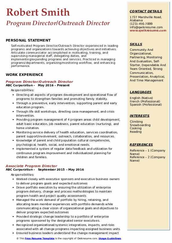 Program Director/Outreach Director Resume Sample