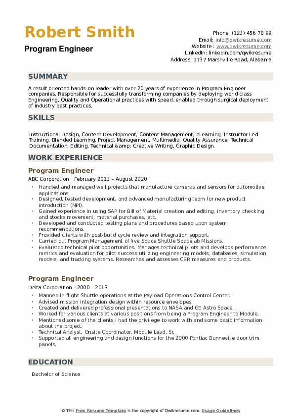 Program Engineer Resume example