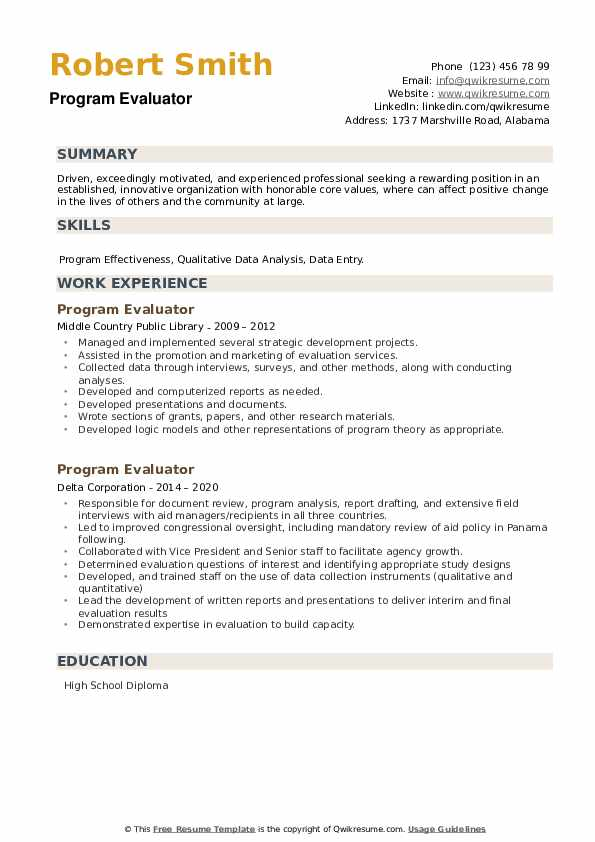 Program Evaluator Resume example