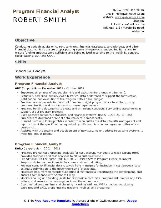 Program Financial Analyst Resume example