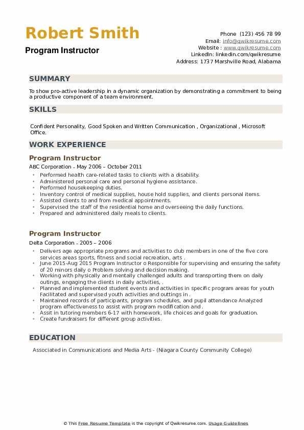 Program Instructor Resume example