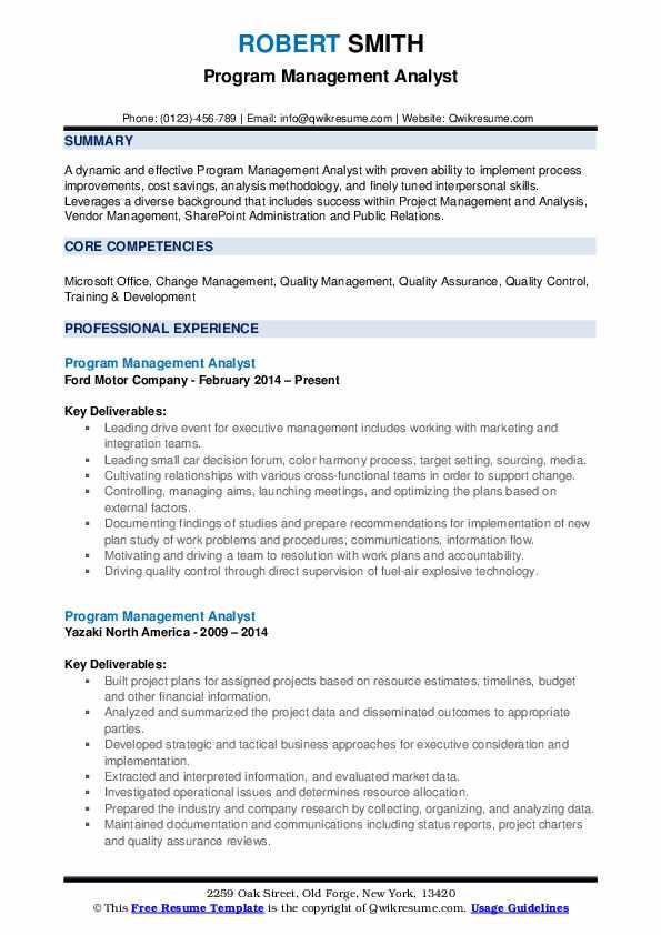 program management analyst resume samples