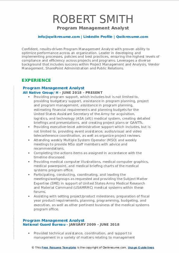 Program Management Analyst Resume Model
