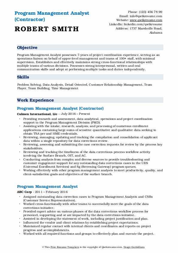 Program Management Analyst (Contractor) Resume Model