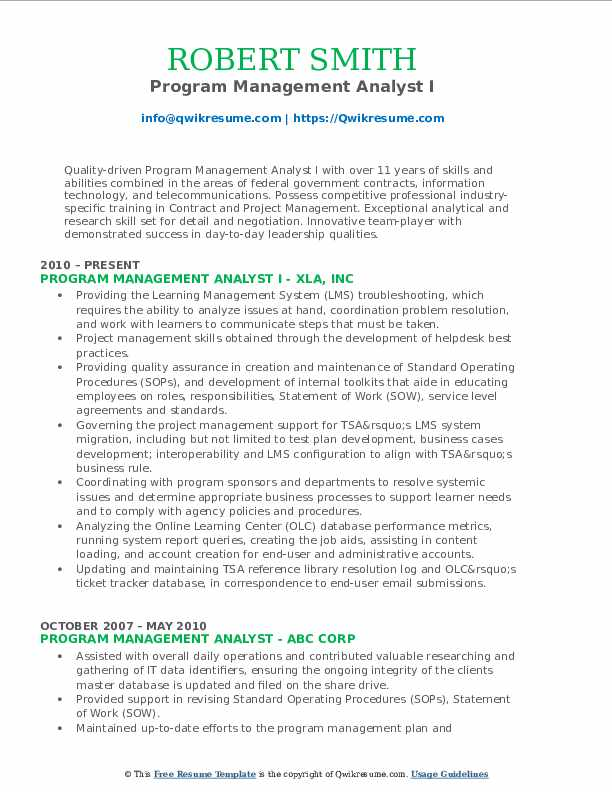 Program Management Analyst I Resume Model