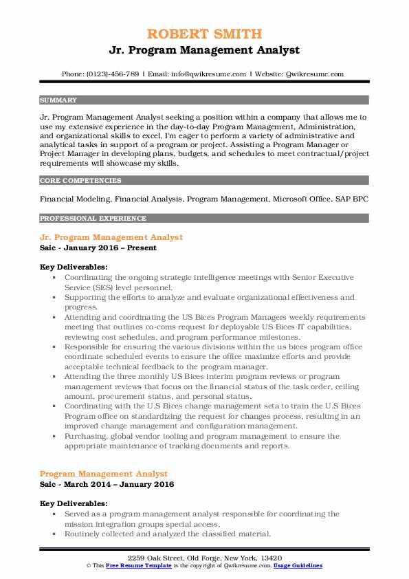 Jr. Program Management Analyst Resume Example