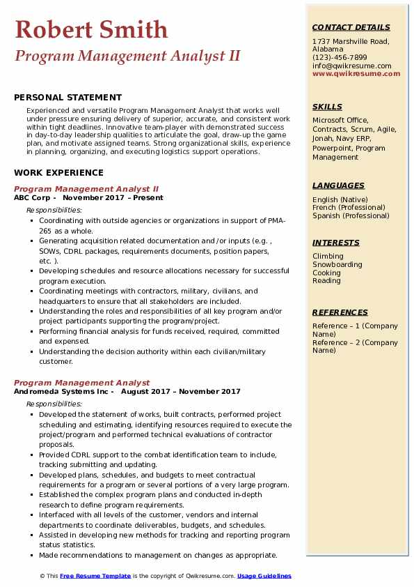 program management analyst resume samples