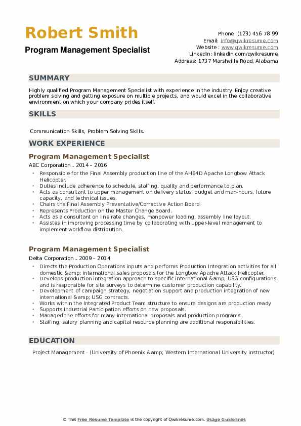 Program Management Specialist Resume example