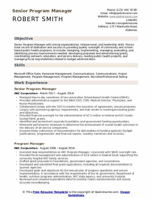 Senior Program Manager Resume Sample