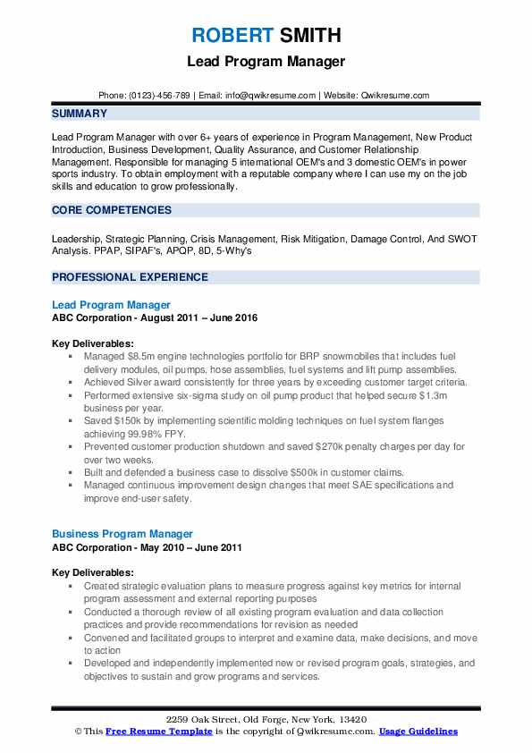 Program Manager Resume Samples Qwikresume