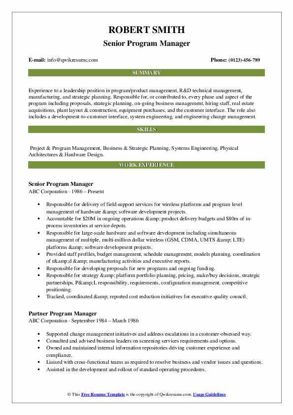 Senior Program Manager Resume Template