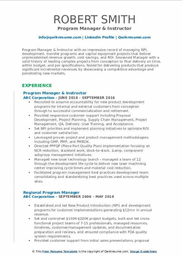 Program Manager & Instructor Resume Sample