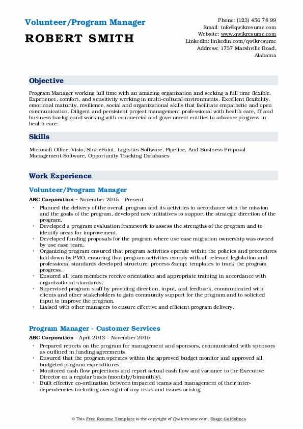 Volunteer/Program Manager Resume Model