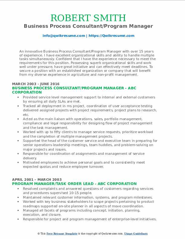 Business Process Consultant/Program Manager Resume Format