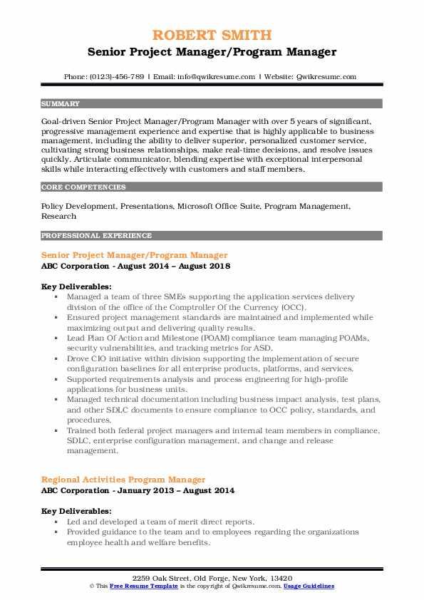 Senior Project Manager/Program Manager Resume Sample