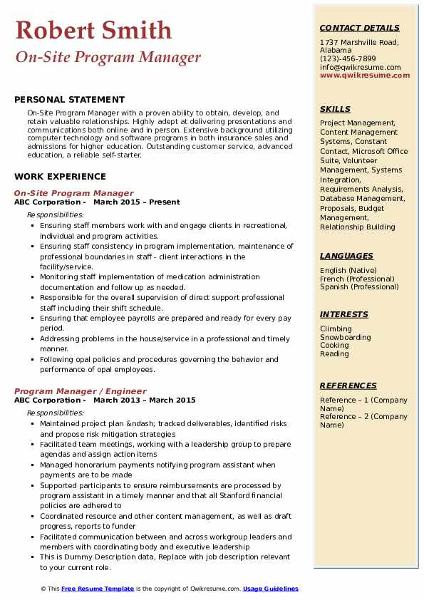 On-Site Program Manager Resume Template