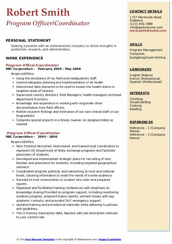 program officer resume samples