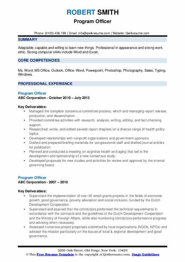 Program Officer Resume example