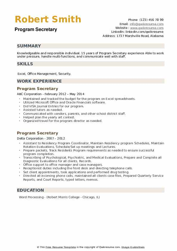 Program Secretary Resume example
