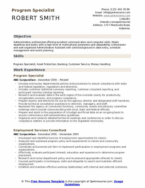 Program Specialist Resume Template