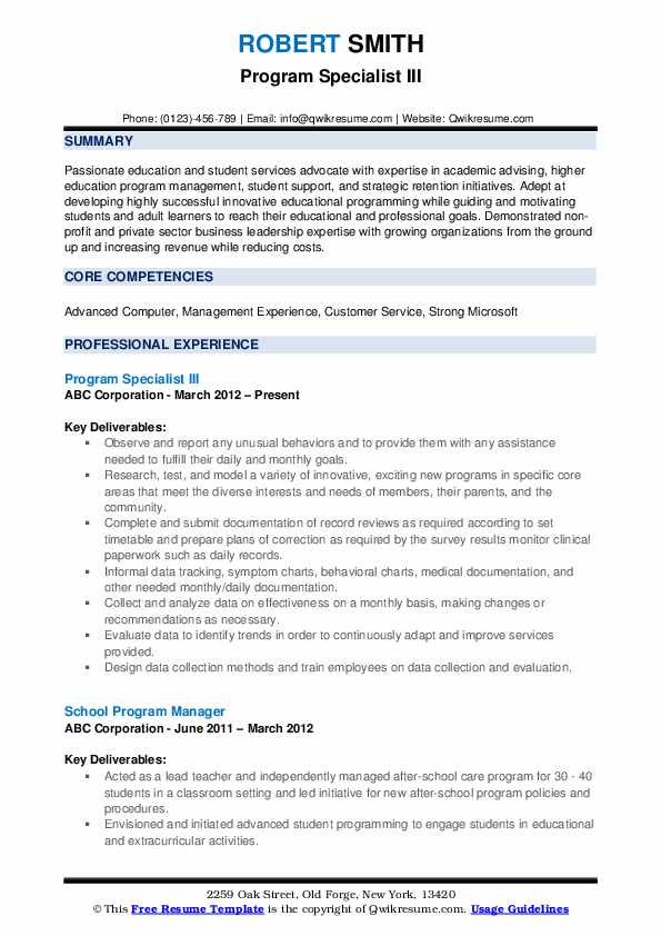 Program Specialist III Resume Example