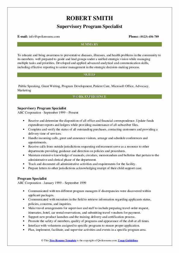 Supervisory Program Specialist Resume Model