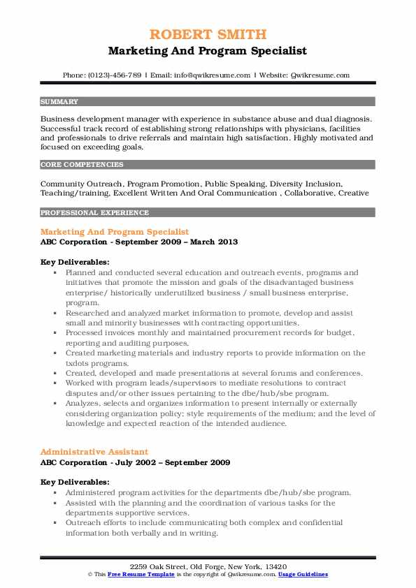 Marketing And Program Specialist Resume Template