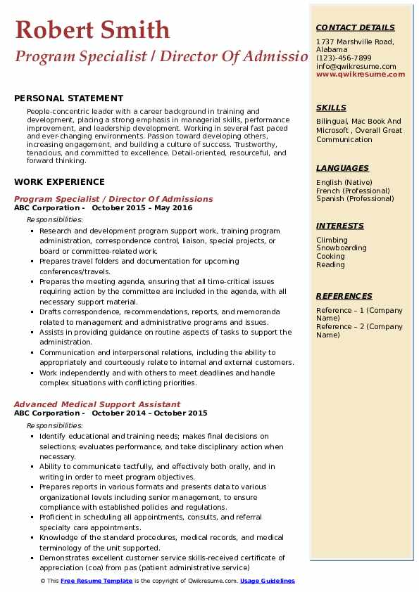 Program Specialist / Director Of Admissions Resume Model