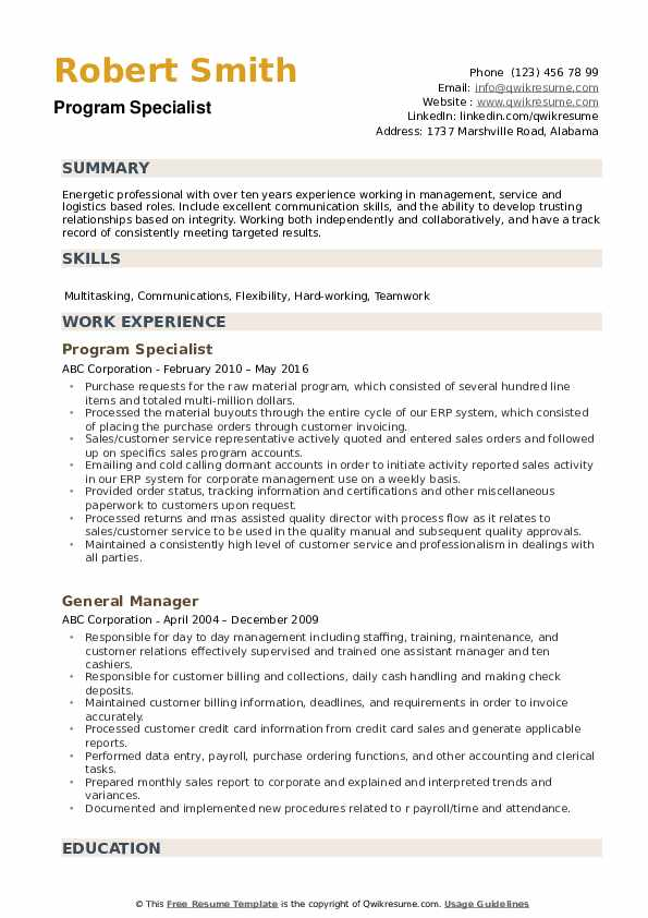 Program Specialist Resume example