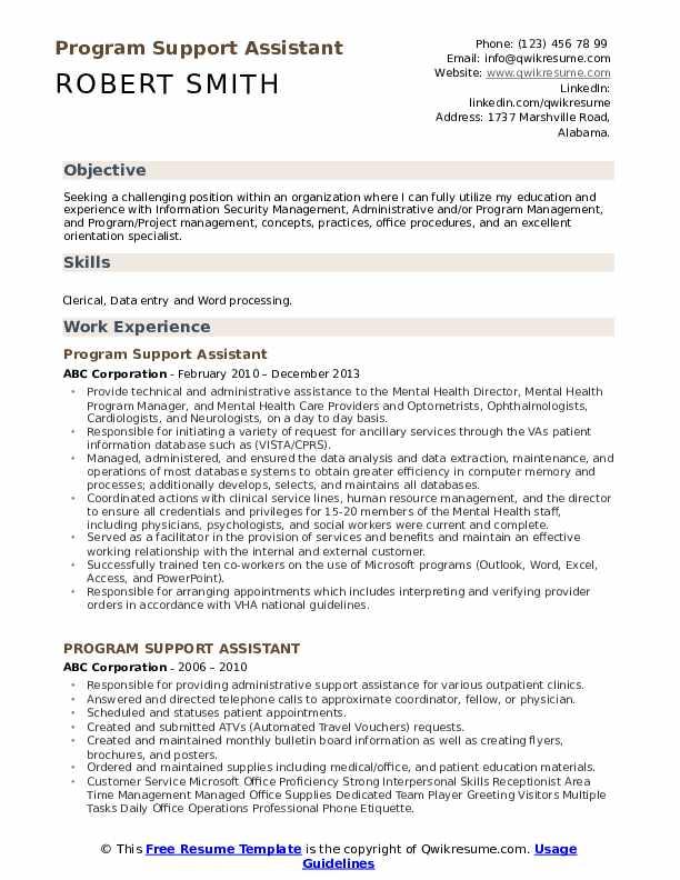 Program Support Assistant Resume Model