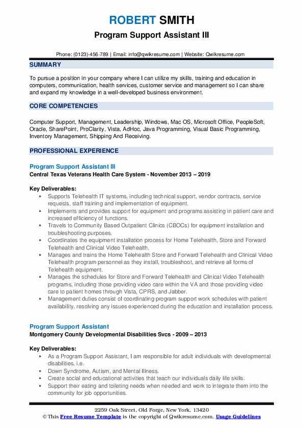 Program Support Assistant III Resume Format