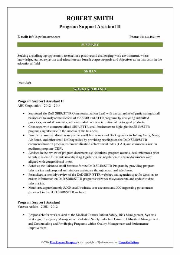 program support assistant resume samples