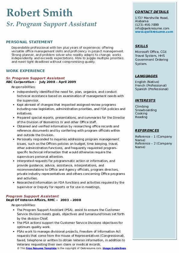 Sr. Program Support Assistant Resume Model