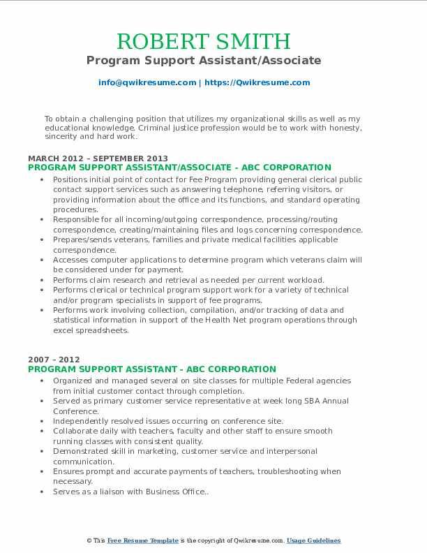 Program Support Assistant/Associate Resume Format