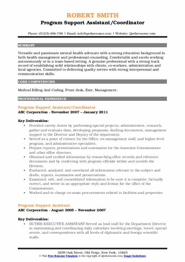 Program Support Assistant/Coordinator Resume Template