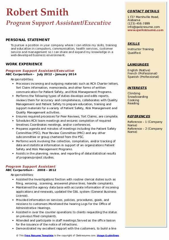 Program Support Assistant/Executive Resume Model