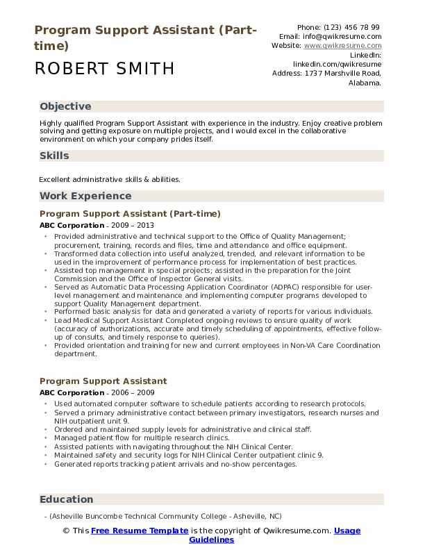Program Support Assistant (Part-time) Resume Model