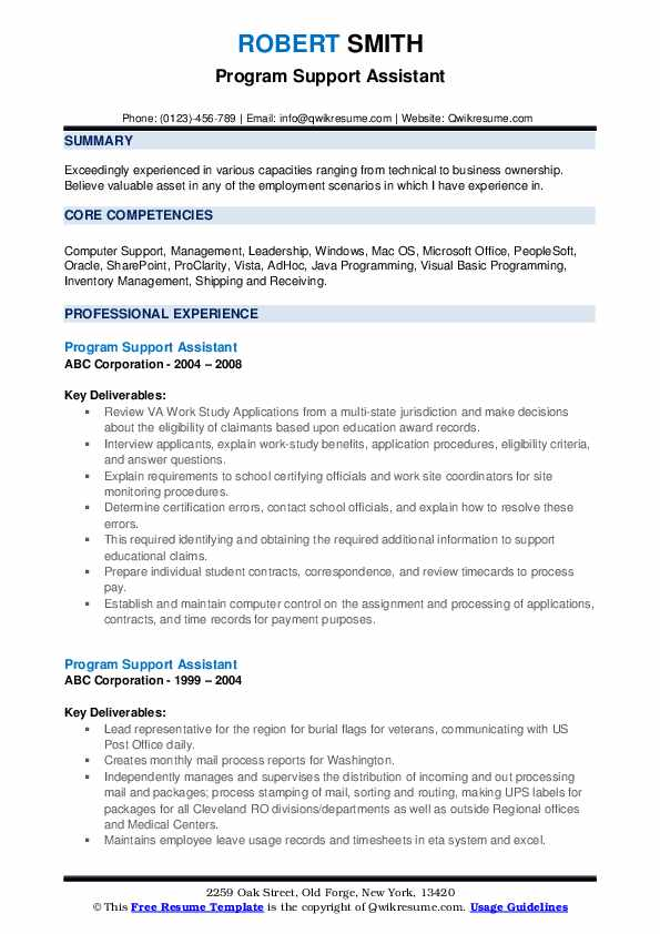 Program Support Assistant Resume example