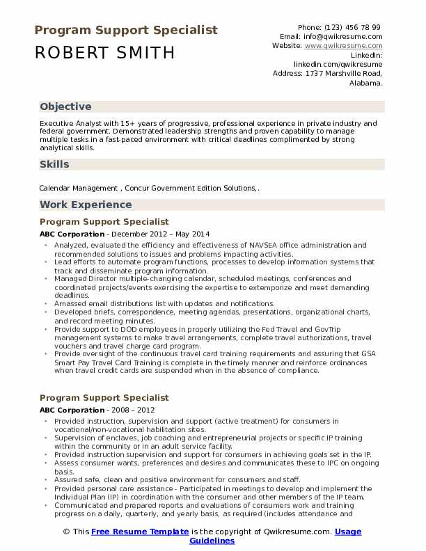 Program Support Specialist Resume Samples Qwikresume