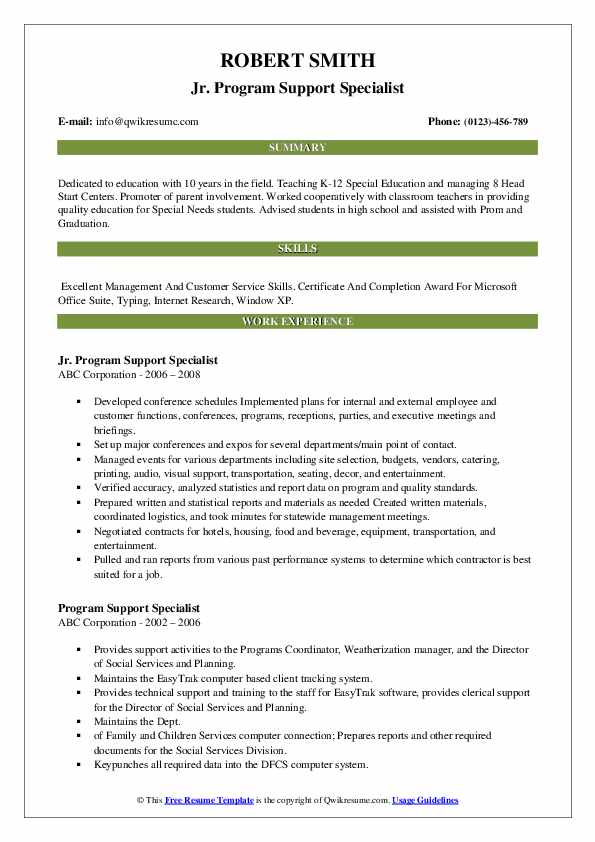 Jr. Program Support Specialist Resume Template
