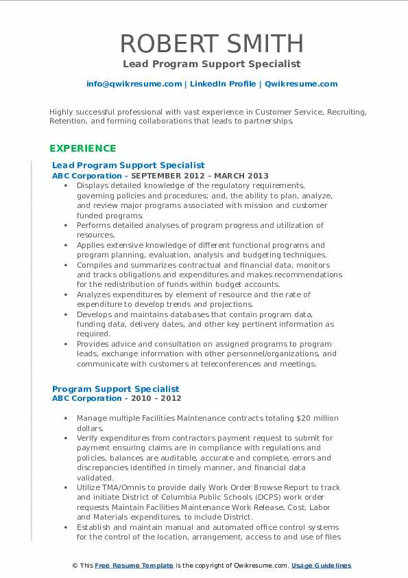 Lead Program Support Specialist Resume Example